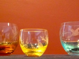 Coloured Moser crystal glasses wildlife etchings Prague Czech Republic